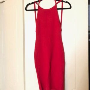 Red Backless Bodycon Dress (NWT)